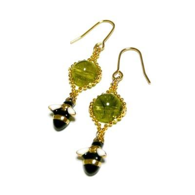 【Bee Happy】ペリドットとミツバチのピアス・金色