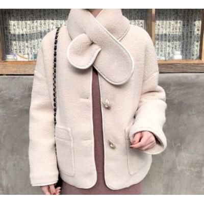 新作 冬物 冬コート ボアジャケット 冬ジャケ ネックデザイン もこもこ フェミニン デイリー 2color 秋冬