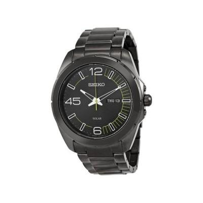 セイコー ソーラー ブラック ダイヤル ブラック IP ステンレス スチール メンズ 腕時計 SNE275