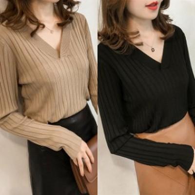 トップス セーター Vネック プルオーバー ベージュ 黒 大きいサイズ 2-3XL #3116