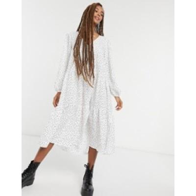 エイソス レディース ワンピース トップス ASOS DESIGN textured tiered midi smock dress in polka dot MONO SPOT