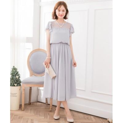 【ドレス スター】 デコルテレースシフォンマキシドレス レディース グレー XXXLサイズ DRESS STAR