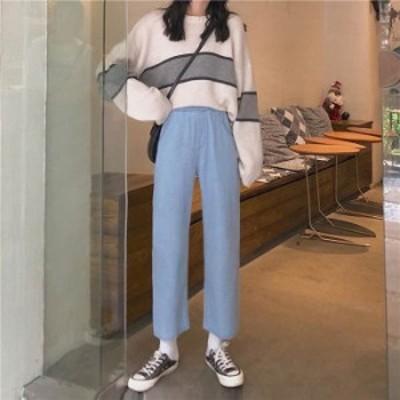 予約商品 大きいサイズ レディース ウエストゴム ゆったり シンプル ストレートデニムパンツ ビッグサイズ BIGサイズ 韓国ファッション