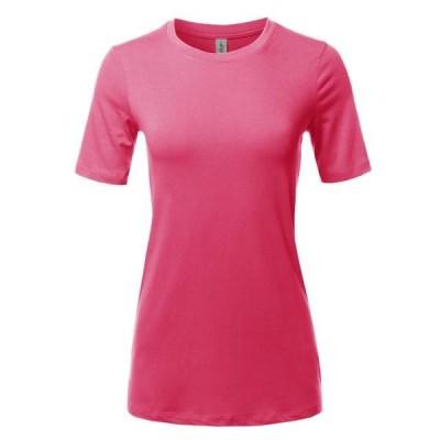 レディース 衣類 トップス A2Y Women's Basic Solid Premium Cotton Short Sleeve Crew Neck T Shirt Tee Tops Fuchsia S ブラウス&シャツ
