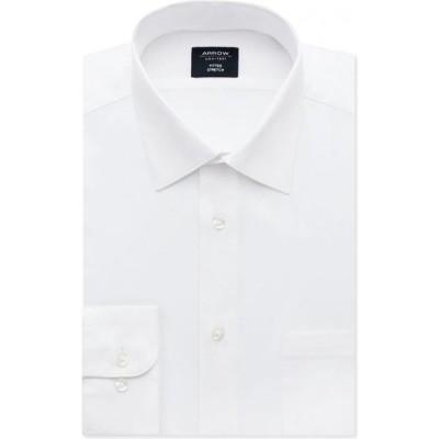 アロー Arrow メンズ シャツ トップス Fitted Non-Iron Performance Stretch Solid Dress Shirt White