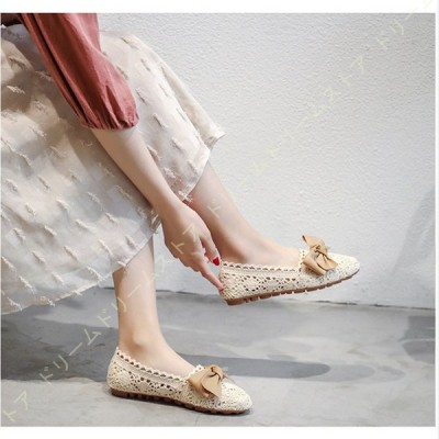 フラットシューズ 通気性のいい靴 ラウンドヘッドシューズ リボンシューズ レディースモカシン 編みシューズ レディースバレエシューズ マッサージシューズ