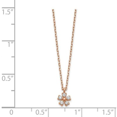 14K Rose Gold Plated Cubic Zirconia Flower with 1In Extender Necklace