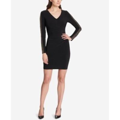 ゲス レディース ワンピース トップス Studded Ruched Sheath Dress Black