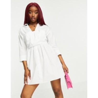 エイソス レディース ワンピース トップス ASOS DESIGN cotton 2 in 1 bandeau crop top mini shirt dress in white White