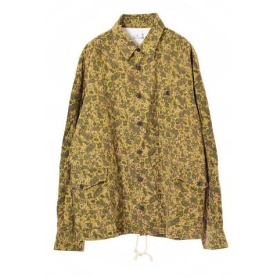 美品 Coen フラワープリント シャツ ジャケット XL カーキ コーエン