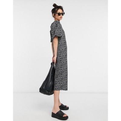 ヴィラ Vila レディース ワンピース ワンピース・ドレス midi dress with puff sleeves in ditsy floral print