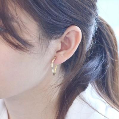 イヤーカフ 18金 k18 18k ゴールド レディース 圧調整可能 片耳用 シンプル フープ 中折れ 日本製 刻印入り