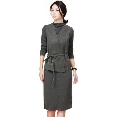 エイン A-In Girls レディース ボディコンドレス ワンピース・ドレス (2Pcs) Slim Fit Dress + Vest (With Belt) grey