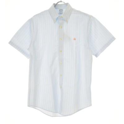 BROOKS BROTHERS / ブルックスブラザーズ SLIM FIT NON IRON ストライプ柄ボタンダウン 半袖シャツ