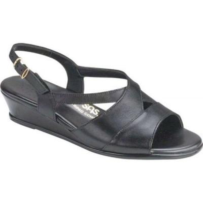 サス SAS レディース サンダル・ミュール ウェッジソール シューズ・靴 Caress Wedge Slingback Sandal Black Leather