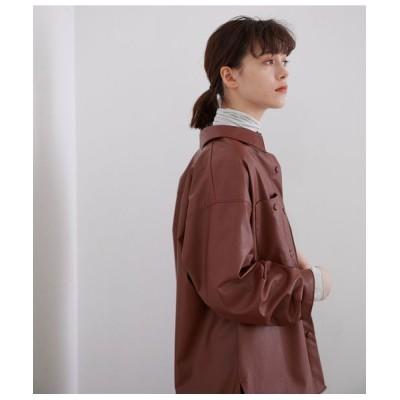 ROPE'/ロペ エコレザーチュニックシャツ ブラウン(22) 38