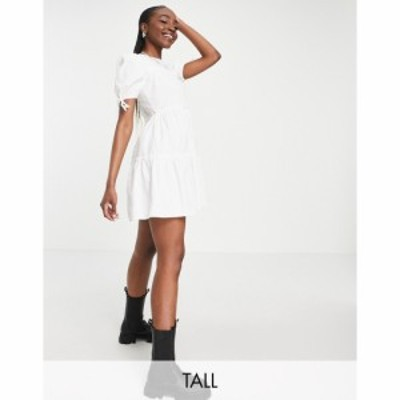 インフルエンス Influence Tall レディース ワンピース Aライン ワンピース・ドレス tie sleeve tiered mini dress in white ホワイト