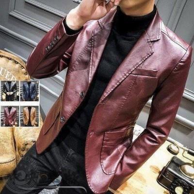 メンズ ライダースジャケット テーラードジャケット レザー 革ジャン バイク用 トレンド