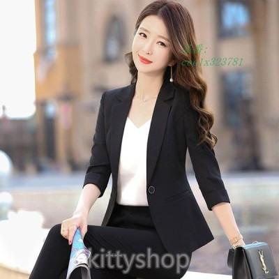 サマージャケット レディース ブラック オフィス ジャケット 7分袖 夏 テーラードジャケット OL 通勤 ビジネス 40代 30代 白ジャケット 薄手