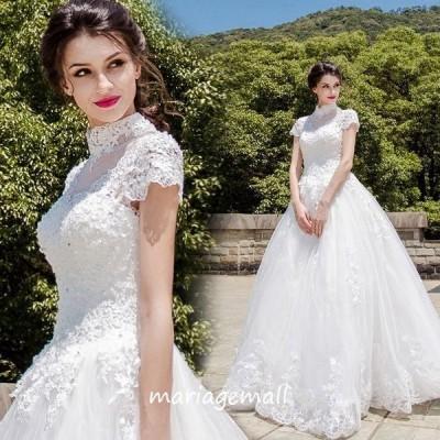 ウェディングドレス 二次会 エンパイア ウエディングドレス 結婚式 花嫁 披露宴 ロングドレス 半袖 ブライダル 白 wedding dress