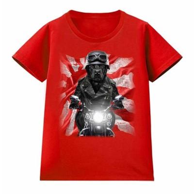 【黒毛 ラブラドルレトリバー ドッグ 犬 いぬ バイク 日本 日の丸】レディース 半袖 Tシャツ by Fox Republic
