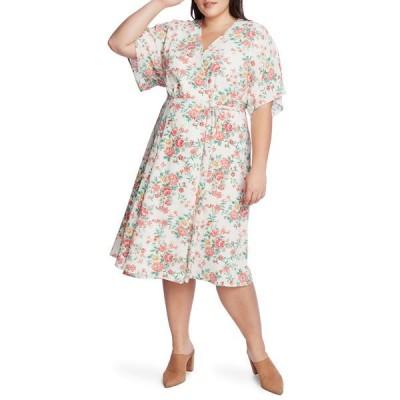 ワンステイト レディース ワンピース トップス Ikat Bouquet Wrap Dress ECRU MULTI