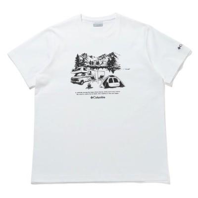 アウトドアシャツ コロンビア 21春夏 ヤハラフォレスト ショートスリーブ Tシャツ メンズ M 101(White×Nature)