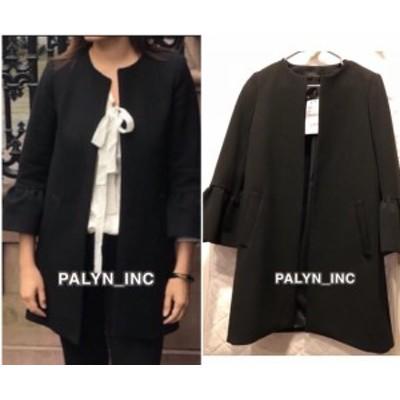 Rare  ファッション 衣類 Rare _ nwt zara black ruffle sleeve coat jacket 2081/677 _ xs