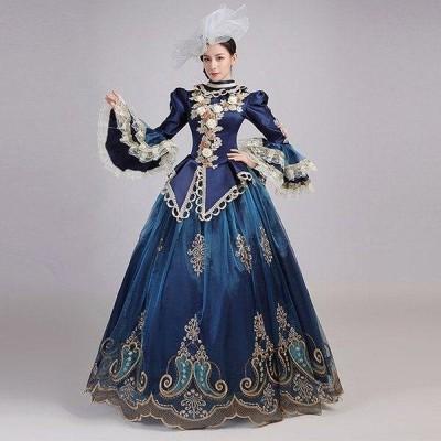 中世貴族風 お姫様ドレス ステージ衣装 パーティー ファスナータイプ 演奏会用ロングドレス プリンセスライン 刺繍 長袖