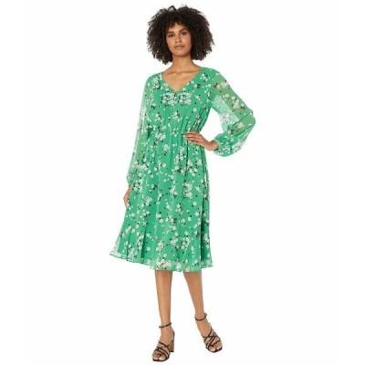 カップケーキアンドカシミア ワンピース トップス レディース Rosalia 'Good Luck Floral' Crinckle Chiffon Midi Dress Shamrock