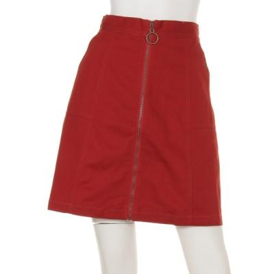 Ray Cassin (レイカズン) レディース リングジップ台形スカート 赤 FREE