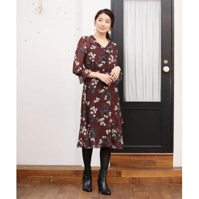 ANAYI/アナイ ランダムフラワープリントアシメワンピース ブラウン1 34