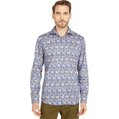 イートン Eton メンズ シャツ スリム トップス Slim Fit Flower Twill Shirt Blue