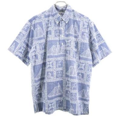 90s reyn spooner 総柄 アロハシャツ L レインスプーナー 90年代 プルオーバー 薄紺 半袖 裏地仕様 メンズ 古着 200703 メール便可