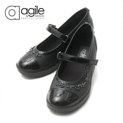 ルコライン 靴 アージレ バイ ルコライン agile by RUCO LINE 靴 ICE ワンストラップシューズ ブラック/ビーズ付 agile-203