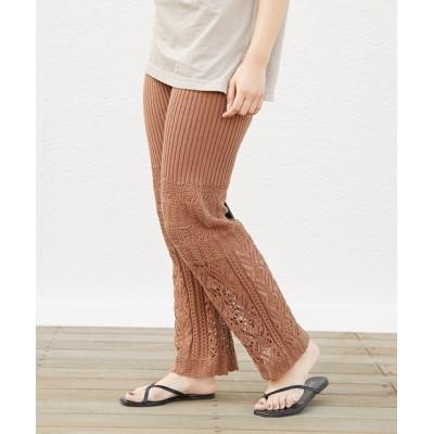 透かし編みイージーパンツ