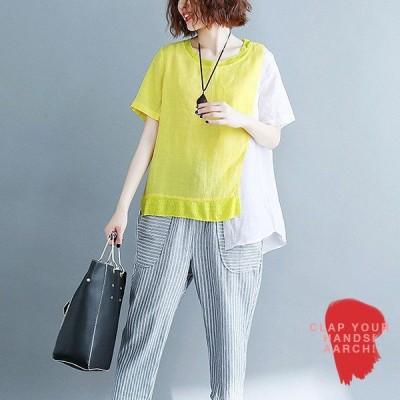 大きいサイズ トップス レディース ファッション ぽっちゃり おおきいサイズ 対応 アシメ 切替 配色 Tシャツ カットソー オーバーサイズ M L LL 3L 春夏