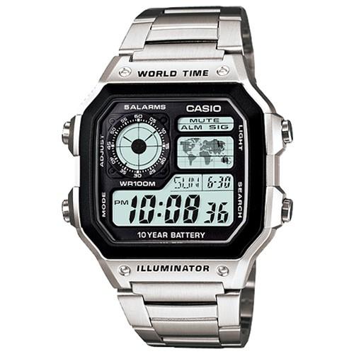 【CASIO】十年之旅世界城市方款不鏽鋼電子錶(AE-1200WHD-1A)正版宏崑公司貨