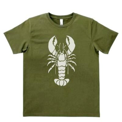 動物・生き物 Tシャツ 動物 生き物 エビ 海老 カーキー MLサイズ