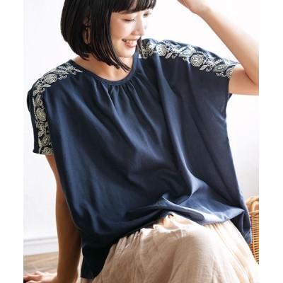 GeeRA / 【21夏新着】麻入りポンチョ風刺しゅうブラウス WOMEN トップス > シャツ/ブラウス
