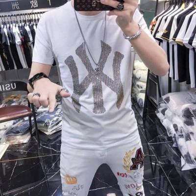 Tシャツ メンズ アメカジ 半袖 刺繍Tシャツ ロゴT カットソー クルーネック 半袖Tシャツ  英文字 個性 クルーネック POLOシャツ