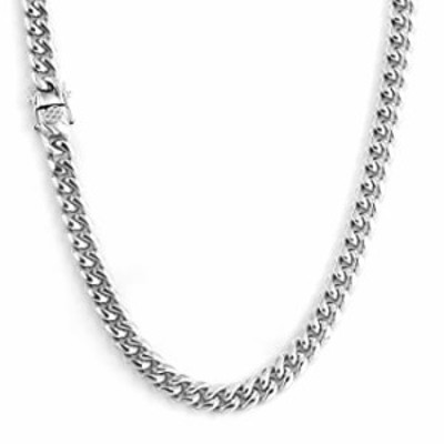 Oumi Stainless Steel Cuban Chain Necklace 8/10mm Width 20in Length (Silver, 10.0)
