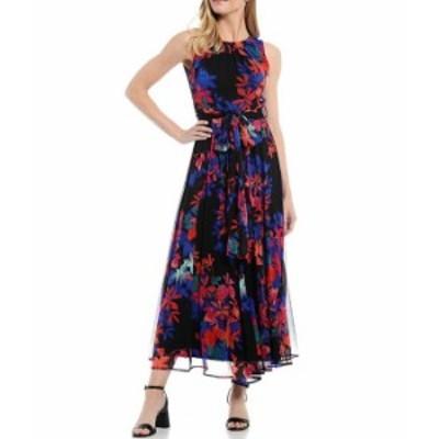 カルバンクライン レディース ワンピース トップス Floral Chiffon Sleeveless Maxi Dress Regatta Multi