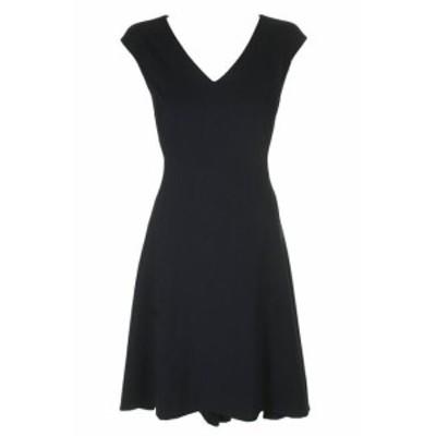DKNY ダナキャランニューヨーク ファッション ドレス Dkny Navy Cap-Sleeve V-Neck High-Low Paneled Fit & Flare Dress 14