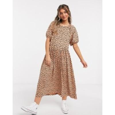 エイソス レディース ワンピース トップス ASOS DESIGN gathered neck midi dress in leopard print Leopard print