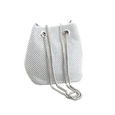 Mogor Bling Twinkle Glitter Luxury Full Rhinestones Portable Evening Clutch Bucket Bag Tote Purse Wallet Gift for Girl Women Fashion Party W