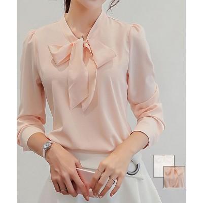 (shoppinggo/ショッピングゴー)ブラウス レディース トップス シャツ シャツブラウス 白 リボンシャツ 長袖  無地 上品 おしゃれ オフィスカジュアル フォーマル/レディース ピンク