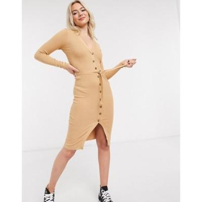 ブレーブソウル レディース ワンピース トップス Brave Soul dallia button down sweater dress in rib