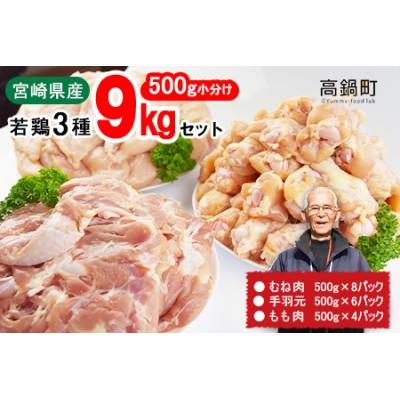 <宮崎県産若鶏3種9kgセット>翌月末迄に順次出荷【c637_kw】