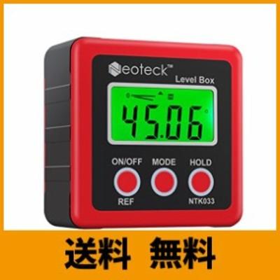 Neoteck デジタル角度計 4*90° ベベルボックス 4単位 LCDディスプレイ バックライト付き 底面磁石 赤